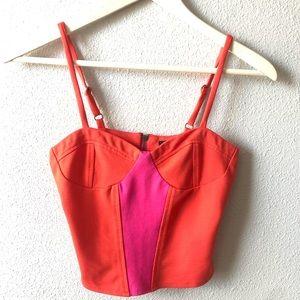 Orange & Pink Colorblock Camisole Top Sz Small